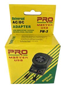 Universal AC/DC Adapter, 500-800mA  PW-5