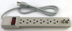 6-way Surge Protector Power Strip, Cable Modem Protection  AC-103CATV