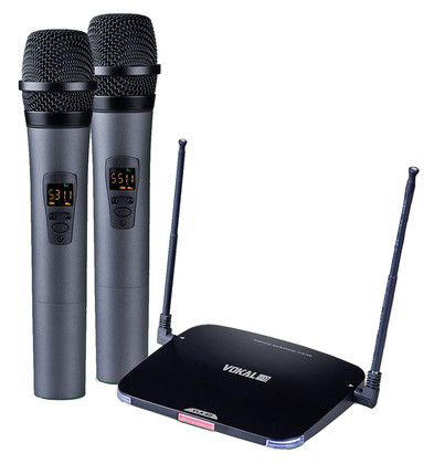 Dual Wireless UHF Battery Operated Microphone System  VLA-42