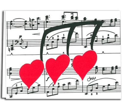 Cards Plain- Note Staff W Hearts 8pk