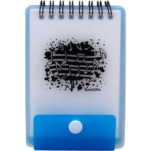 Notebook Music Notes w Snap & Blue Backing