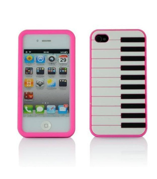Pink Piano Music Keys iPhone 4G 4S Case Soft Ge...