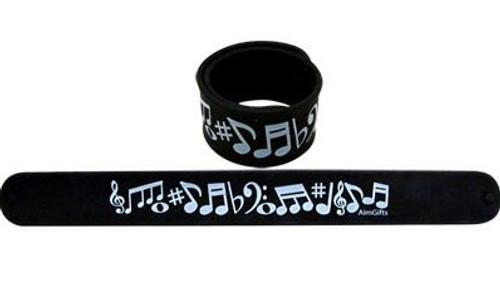 Slap Bracelet Black w White Notes
