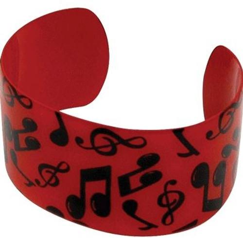 Bracelet Cuff Notes Red W/Black