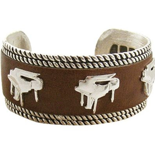 Bracelet Silver Brown Leather Piano