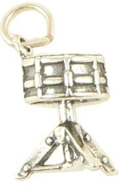Charm Sterling Silver Snare Drum on Stand 3D