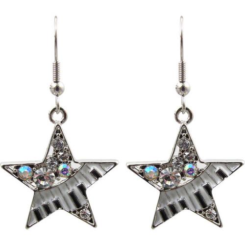Earrings Stars W/keyboard & Crystals