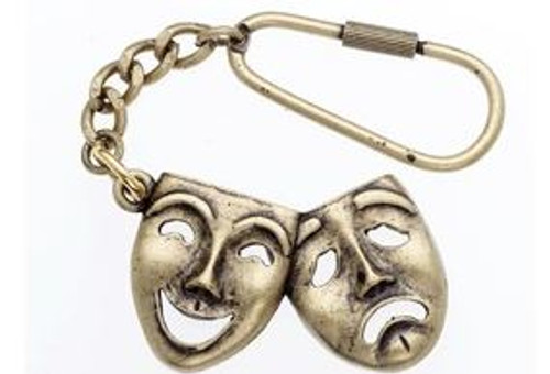 Keychain Comedy/Tragedy Antique Brass