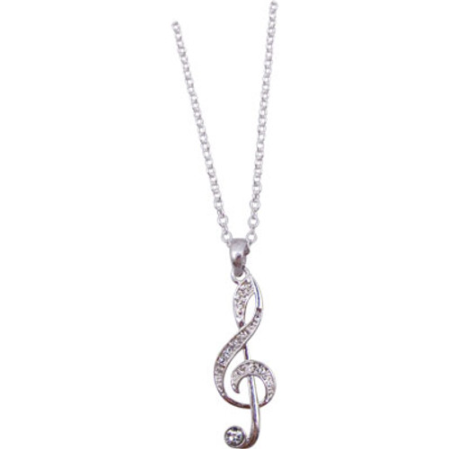 Necklace Crystal G-Clef Silver