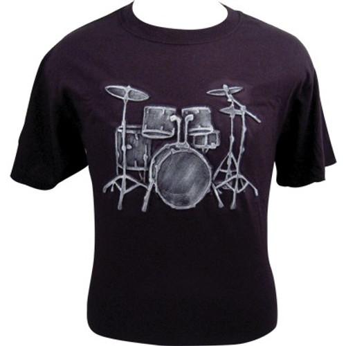 T-Shirt Emb Drum Set Black White- Medium, Large, XLarge