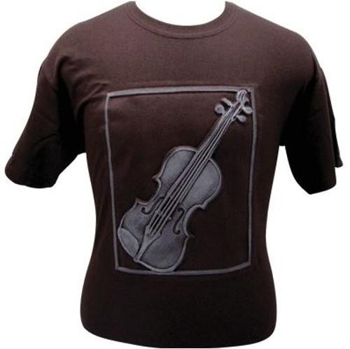 T-shirt Emb Violin Brown/White -Small