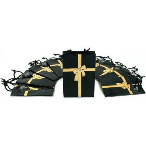 """Gift Bags black with gold bow 7"""" x 9"""""""