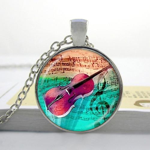 Violin Art Glass Pendant w Necklace