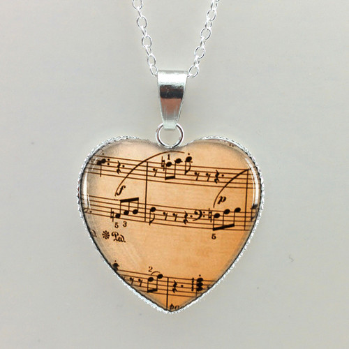 Heart Shaped Sheet Mus Glass Pendant w Necklace