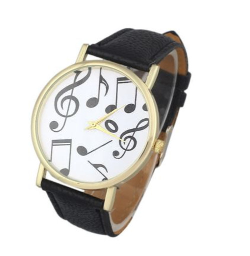 Gofuly Music Note Leather Band Watch