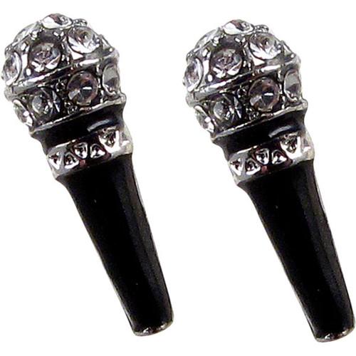 Crystal Black Enamel Microphone Stud Earrings