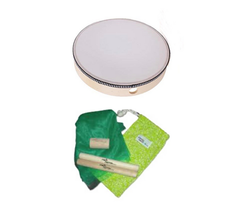 """Baby Kit: Drum 8"""", pre-tuned, wooden, Rhythm Sticks, Rattle, Scarf in Cloth Pouch"""