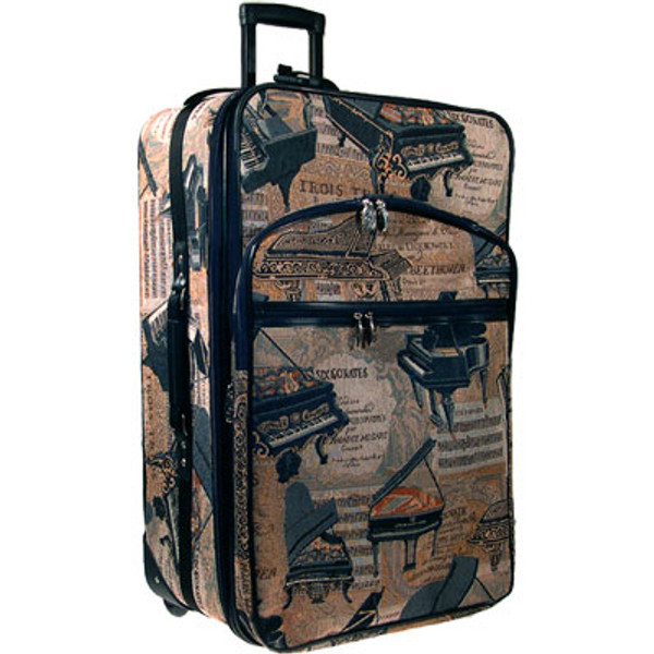 """Suitcase Carry-on Piano Tapestry 20"""" Expandable"""