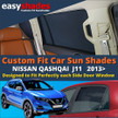 Nissan Qashqai Car Sun Shades from easyshades give great UV Protection with Window Shades and are more convenient than Privacy Glass. Styling Accessories are available from £29.95 inc Vat Order Online