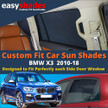 BMW X3 Car Sun Shades from easyshades give great UV Protection with Window Shades and are more convenient than Privacy Glass. Styling Accessories are available from £29.95 inc Vat Order Online