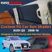 Audi Q5 Car Sun Shades from easyshades give great UV Protection with Window Shades and are more convenient than Privacy Glass. Styling Accessories are available online at easyshades.co.uk