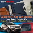 Land Rover Evoque Car Sun Shades from easyshades give great UV Protection with Window Shades and are more convenient than Privacy Glass. Styling Accessories are available online at easyshades.co.uk