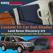 Land Rover Discovery Car Sun Shades from easyshades give great UV Protection with Window Shades and are more convenient than Privacy Glass. Styling Accessories are available online at easyshades.co.uk
