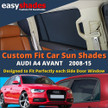 Audi A4 Avant Car Sun Shades from easyshades give great UV Protection with Window Shades and are more convenient than Privacy Glass. Styling Accessories are available online at easyshades.co.uk
