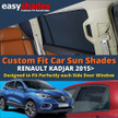 Easyshades car sun shades for Renault Kadjar fit the side Door windows  giving great UV Protection and protecting your Kids, Bay, Pets from sunburn.