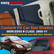 Our Mercedes Benz B-Class  Car Sunshades perfectly fit the rear passenger door windows giving great UV protection and shade to your kids bay and pets.
