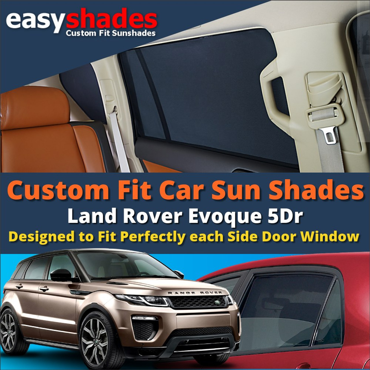 Land Rover Evoque Car Sun Shades from easyshades give great UV Protection  with Window Shades and 60330415dd7