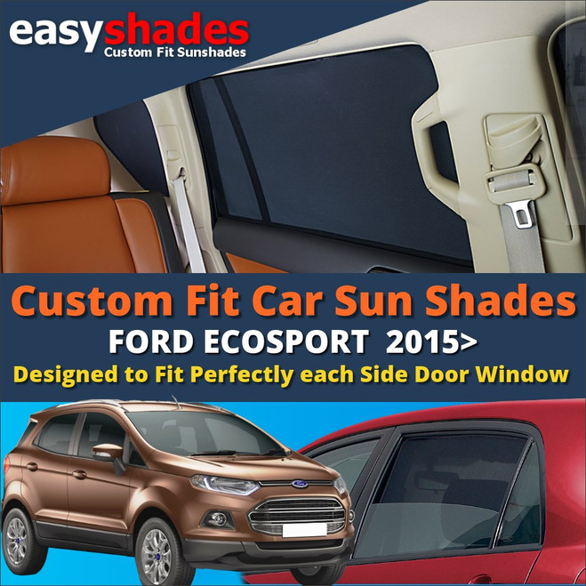 Ford Ecosport Car Sun Shades from easyshades give great UV Protection with Window Shades and are more convenient than Privacy Glass. Styling Accessories are available online at easyshades.co.uk