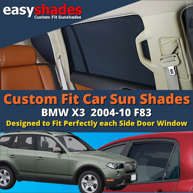 BMW X3 E83 Car Sun Shades from easyshades give great UV Protection with Window Shades and are more convenient than Privacy Glass. Styling Accessories are available from £29.95 inc Vat Order Online
