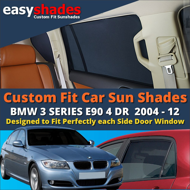 BMW 3 Series Saloon E90 Car Sun Shades from easyshades give great UV Protection with Window Shades and are more convenient than Privacy Glass. Styling Accessories are available from £29.95 inc Vat Order Online