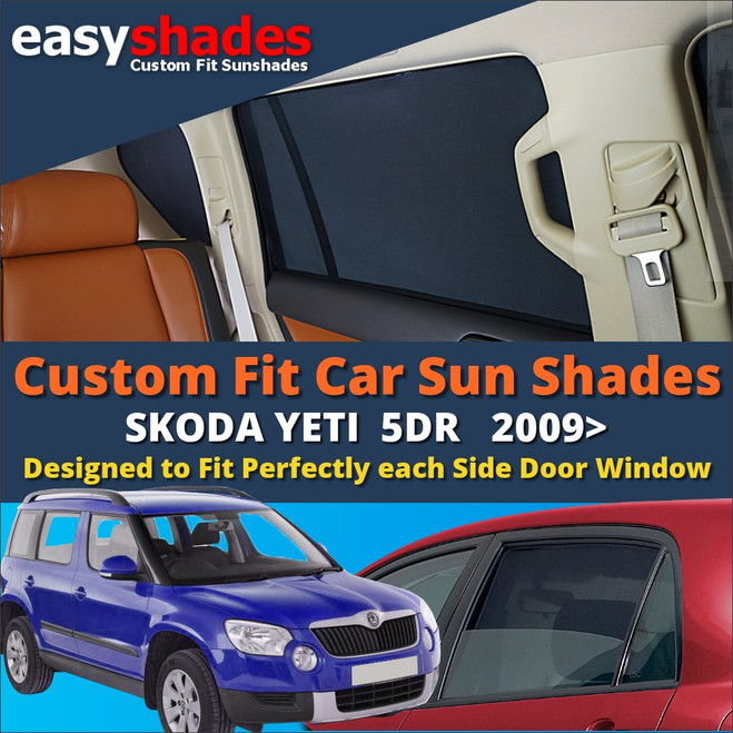 Easyshades car sun shades for Skoda Yeti fit the side Door windows  giving great UV Protection and protecting your Kids, Bay, Pets from sunburn.