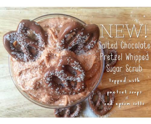 Salted Chocolate Pretzel Whipped Sugar Scrub - With Pretzel Soaps & Epsom Salts