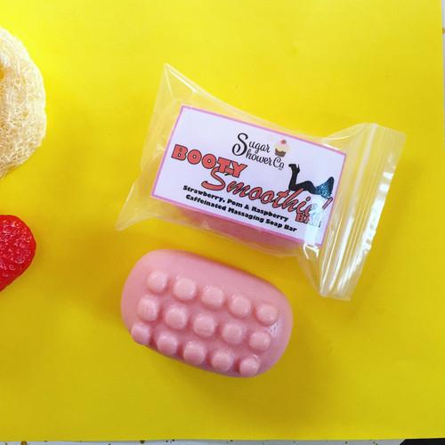 Booty Smoothie Bar - Caffeinated Massaging Soap - Strawberry & Pomegranate