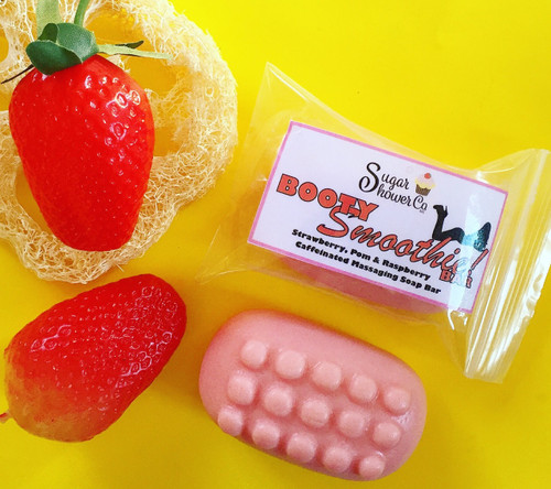 Booty Smoothie Bar - Caffeinated Massaging Soap - Strawberry & Pomegranate