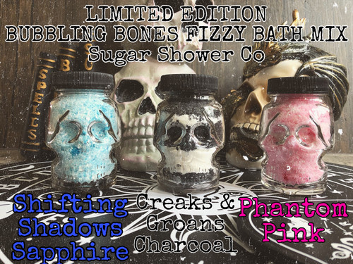 15% OFF! LIMITED EDITION Bubbling Bones Fizzy Bath Mix - Reusable Glass Skull Jar