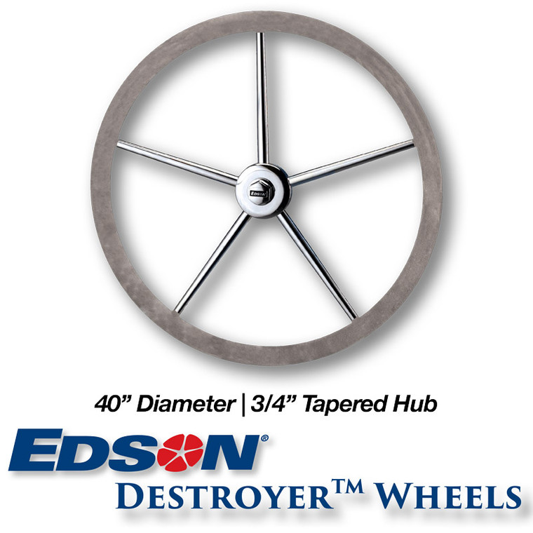 """40"""" Deluxe Leather Covered Rim Stainless Steel Destroyer Wheel - 3/4-inch Tapered Hub"""