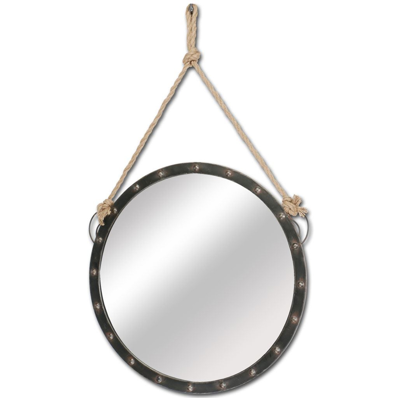 Pendula Round Hanging Wall Mirror With Rope Accent 27 By 39 Inches Giftopolis