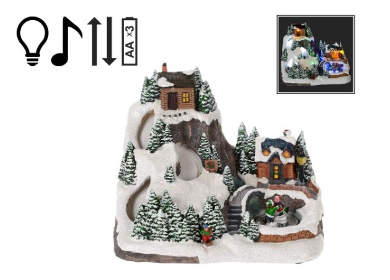 Christmas Village Snowy Mountain With Led Music And Motion Giftopolis