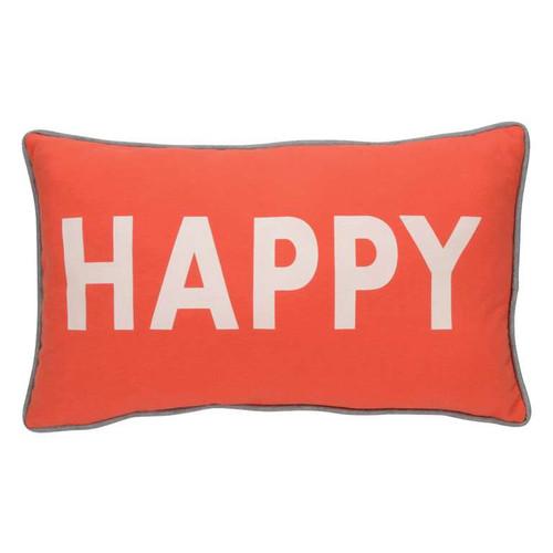 Happy cushion in orange with grey trim