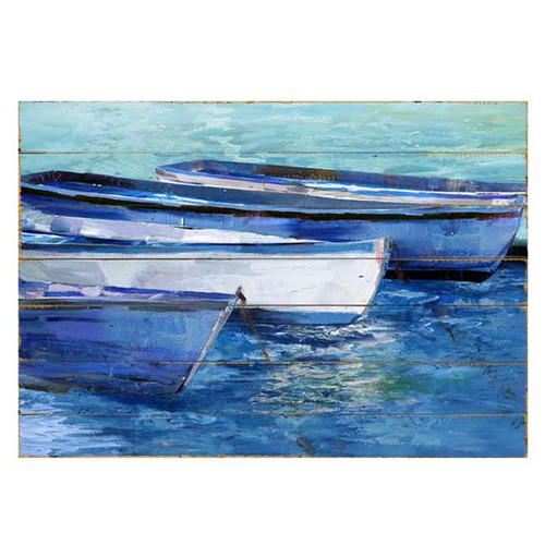 Row boats on blue waves