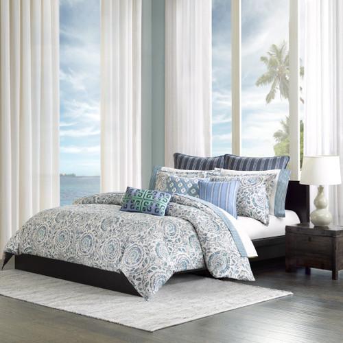 KAMALA Queen 4 pcs bleu offwhite 92 x 96 comforter set