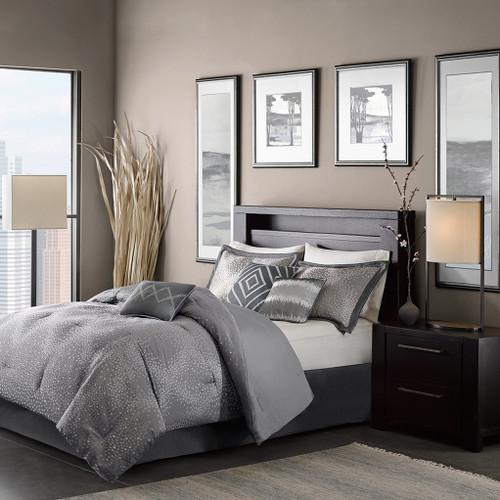Comforter set QUINN Queen 7 mcx/pcs gris 90 x 90