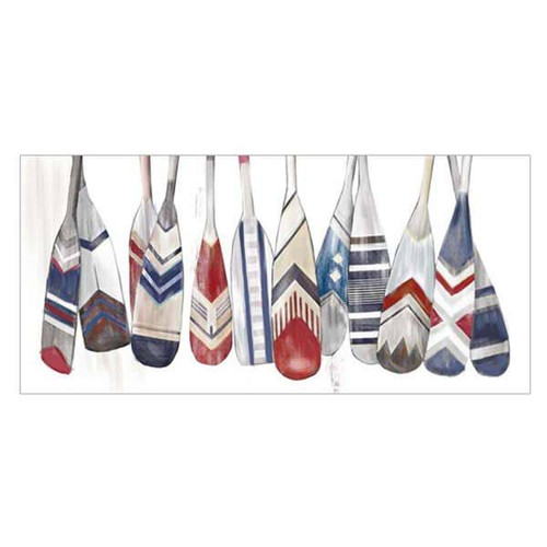 Perfect for the Canadian cottage colourful oars canvas print in reds and blues
