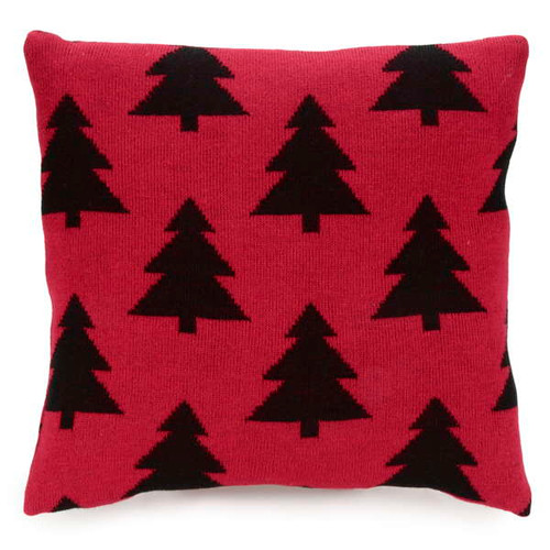 Modern take on traditional Christmas decor black trees on red knit