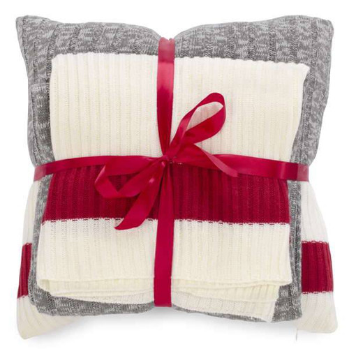 Sock Monkey Grey Knit Throw Pillow and Blanket