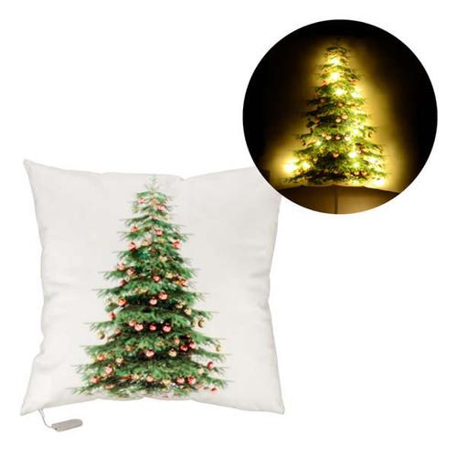 LED Christmas Tree Throw Pillow